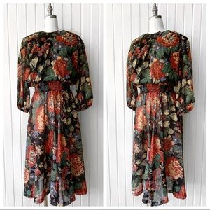 Vintage Floral Print Long Sleeve Dress